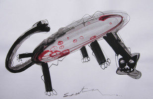 ANIMAL SERIES 6 by Sukanta Chowdhury, Illustration Drawing, Ink on Paper, Gray color
