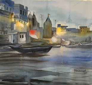 Ganga by Priti Dhongadi, Impressionism Painting, Watercolor on Paper, Gray color