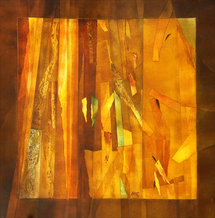 Untitled by Ramesh Kher, Abstract Painting, Acrylic on Canvas, Orange color