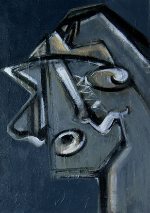 MAJESTIC THOUGHT by Sukanta Chowdhury, Expressionism Painting, Acrylic on Canvas, Blue color