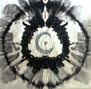 ETERNAL CIRCLE-GOD'S EYE by Baljit Singh Chadha, Abstract Painting, Mixed Media on Canvas, Gray color