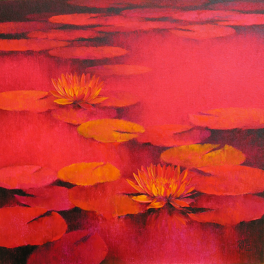Waterlilies 23 by Swati Kale, Impressionism Painting, Oil on Canvas, Red color