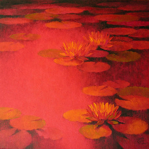 Waterlilies - 24 by Swati Kale, Impressionism Painting, Oil on Canvas, Red color