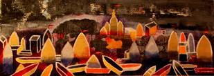 KASHI V by Pratap SJB Rana, Geometrical Painting, Mixed Media on Canvas, Brown color