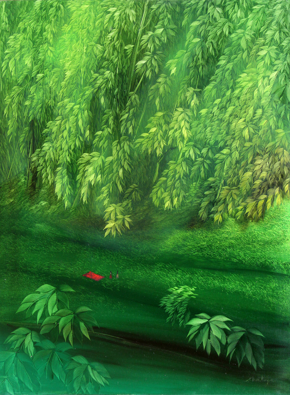Inner escape 12 by R.S Shakya, Surrealism Painting, Oil on Canvas, Green color