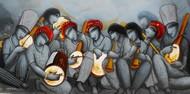 Sound 32 by Samir Sarkar, Decorative Painting, Acrylic on Canvas, Gray color