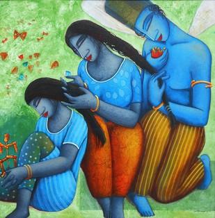 Lover by Samir Sarkar, Decorative Painting, Acrylic on Canvas, Green color