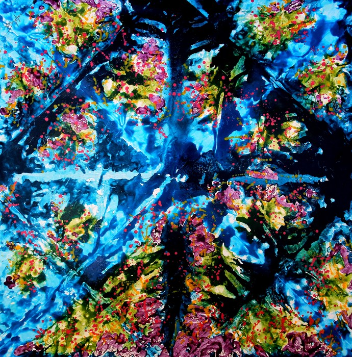Wall Of Exotic Flower 3 by Baljit Singh Chadha, Abstract Painting, Mixed Media on Canvas, Blue color