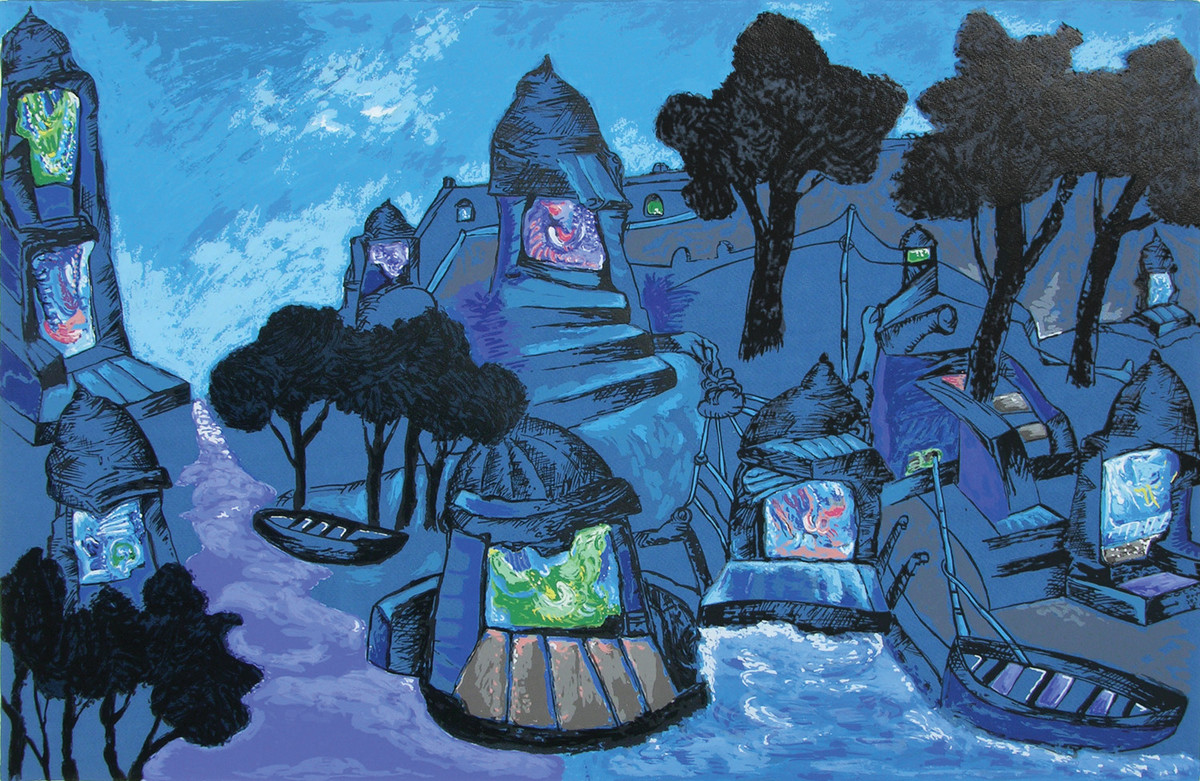 Banaras in Moonlight by Manu Parekh, Impressionism Serigraph, Serigraph on Paper, Blue color