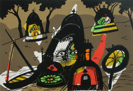 Banaras in Brown by Manu Parekh, Impressionism Serigraph, Serigraph on Paper, Brown color