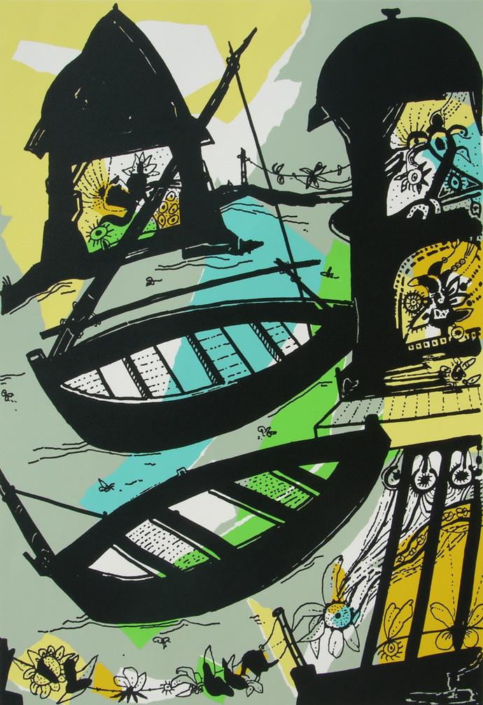 Banaras in Lemon by Manu Parekh, Impressionism Serigraph, Serigraph on Paper, Green color