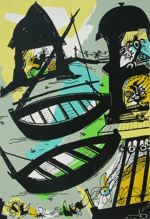 Banaras in Lemon by Manu Parekh, Impressionism Serigraph, Serigraph on Paper, Green color