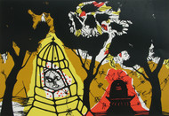 Banaras in Yellow by Manu Parekh, Impressionism Serigraph, Serigraph on Paper, Brown color