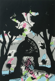 Banaras in Black by Manu Parekh, Impressionism Serigraph, Serigraph on Paper, Gray color