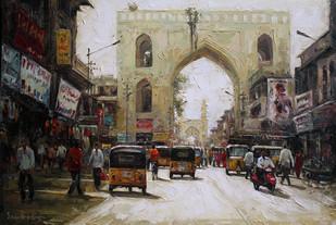 Charminar St 04 by Iruvan Karunakaran, Impressionism Painting, Acrylic on Canvas, Brown color