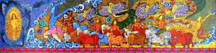 Krishna Krishna by Seema Kohli, Traditional Painting, Acrylic & Ink on Canvas, Brown color