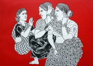 Untitled by Laxman Aelay, Expressionism Painting, Acrylic & Graphite on Canvas, Red color