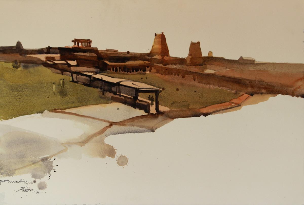 Vanishing Heritage by Prashant Prabhu, Impressionism Painting, Watercolor on Paper, Beige color