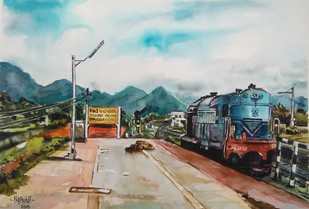 The train... by Prabhakaran, Impressionism Painting, Watercolor on Paper, Gray color