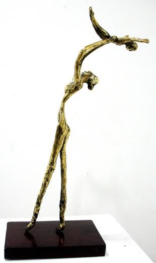 Mother's Pet by Usha Ramachandran, Art Deco Sculpture | 3D, Bronze, White color
