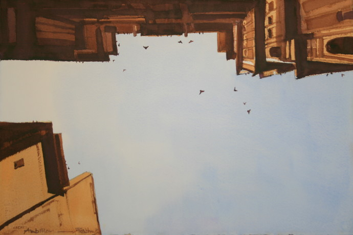 Ambition by Prashant Prabhu, Impressionism Painting, Watercolor on Paper, Brown color