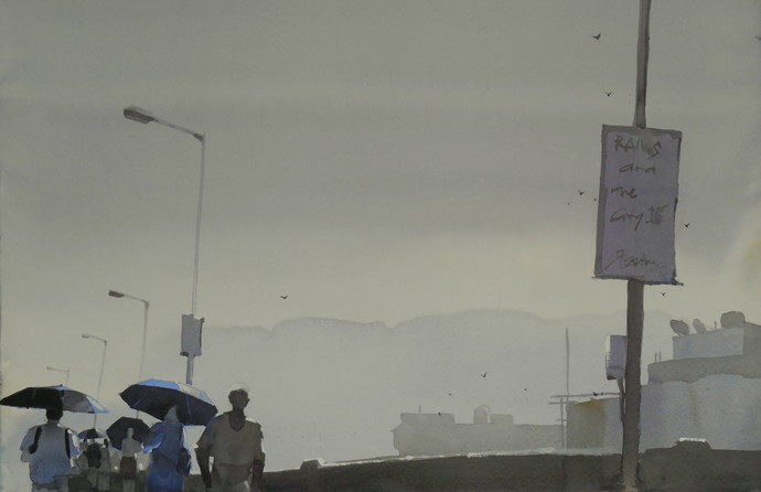 Rain and the city 16 by Prashant Prabhu, Impressionism Painting, Watercolor on Paper, Gray color