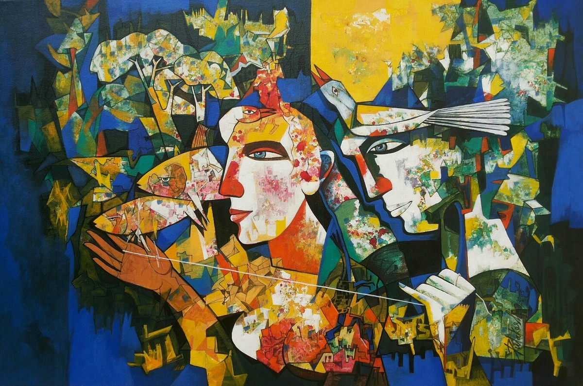 Relation in two Fish by Pulakesh Mandal, Expressionism Painting, Acrylic on Canvas,