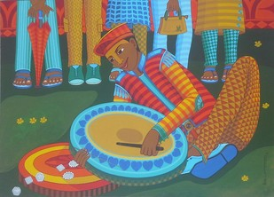 Remix Dafli wale by Thota Laxminarayana, Decorative Painting, Acrylic on Canvas, Brown color