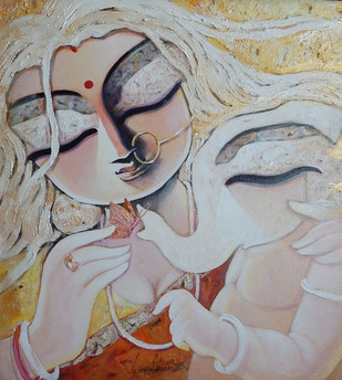 Maa by Subrata Ghosh, Traditional Painting, Acrylic on Canvas, Gray color