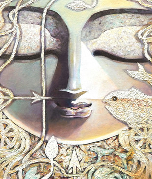 Inner Eye by Subrata Ghosh, Traditional Painting, Acrylic on Canvas, Beige color
