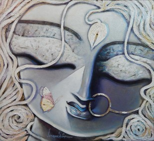 Trinayani by Subrata Ghosh, Traditional Painting, Acrylic on Canvas, Gray color