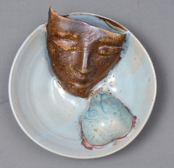 Symbiosis with Nature Wall Plaque by Kristine Michael, Pop Art Sculpture, Ceramic, Gray color