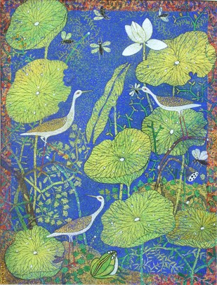 Prakriti by Manoj Dutta, Decorative Painting, Tempera on Board, Green color