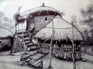 Mesmerising Indian village by Vishwanath Bhat, Illustration Drawing, Pen on Paper, Gray color