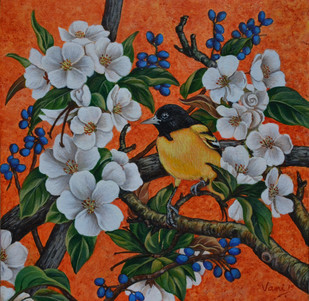 Oriole by Vani Chawla, Decorative Painting, Acrylic on Canvas, Brown color