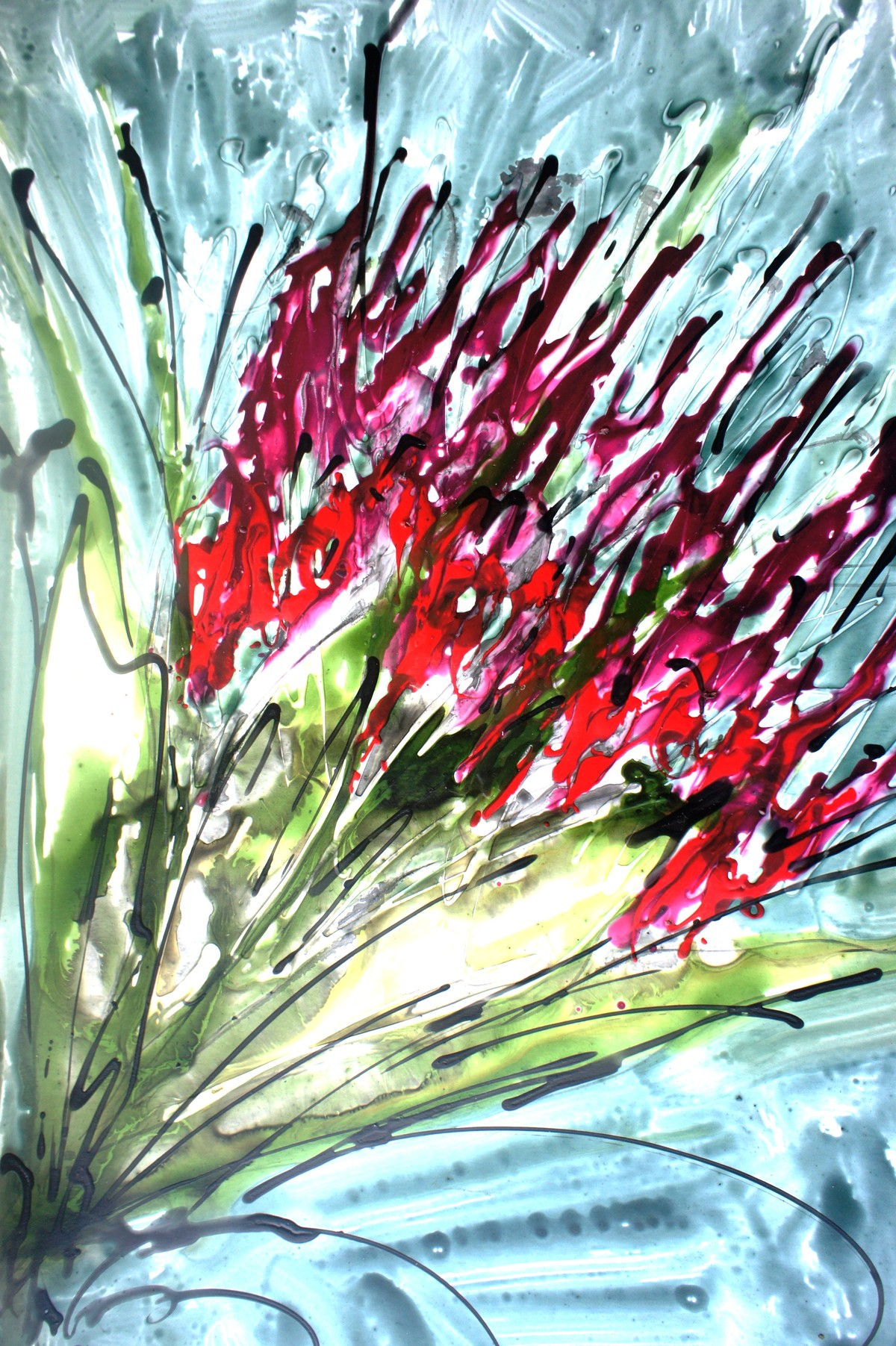 Imaginative Blooms by Baljit Singh Chadha, Abstract Painting, Mixed Media on Paper, Cyan color