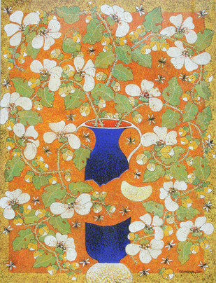 Spring by Manoj Dutta, Decorative Painting, Tempera on Board, Beige color