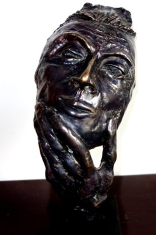 The man intrigued by Usha Ramachandran, Expressionism Sculpture, Bronze,