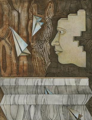 Floating 2 by Puja Kshatriya, Surrealism Painting, Mixed Media on Paper, Brown color