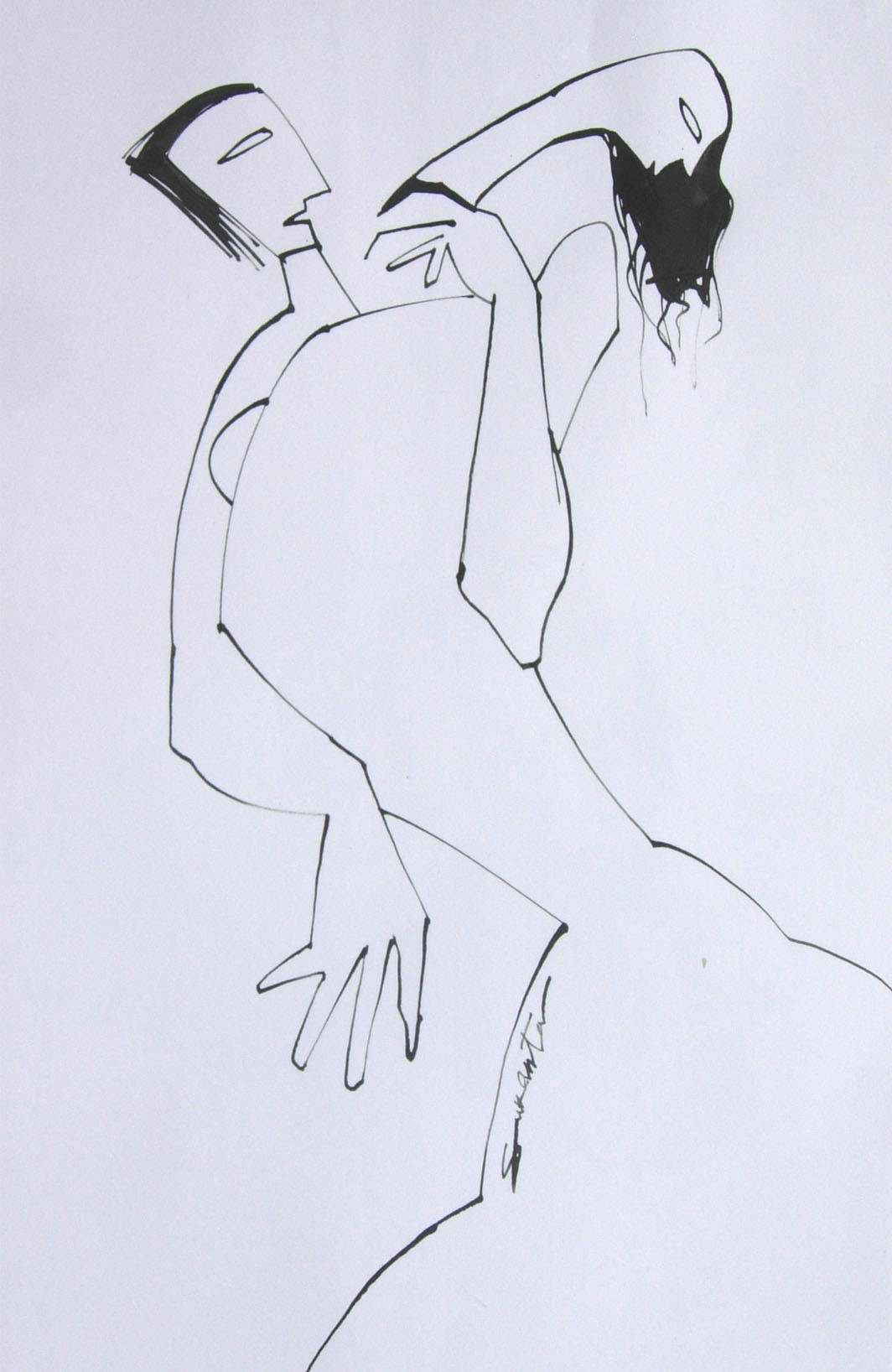 LIFE SERIES 4 by Sukanta Chowdhury, Minimalism Drawing, Ink on Paper, Pink color