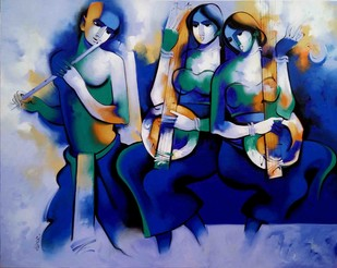 Harmony2017 by Arvind Kolapkar, Impressionism Painting, Acrylic on Canvas, Blue color