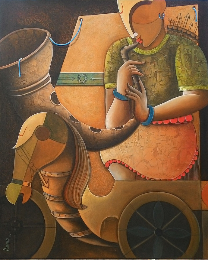 Parthasarathi 5 by anupam pal, Expressionism Painting, Acrylic on Canvas, Brown color