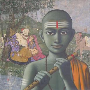 Gurukul by Sanjay N Raut, Impressionism Painting, Acrylic on Canvas,