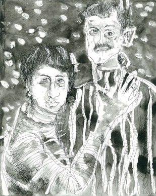 Love And Happiness by Anil Simhadri, Illustration Drawing, Ink on Paper, Gray color