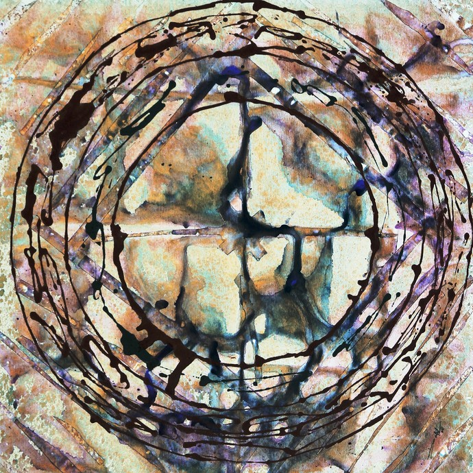 Eternal Circle-Unending by Baljit Singh Chadha, Abstract Painting, Mixed Media on Canvas, Brown color