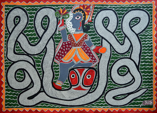 Madhubani Painting by Baua Devi, Folk Painting, Acrylic on Paper, Green color
