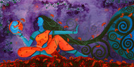 Transcendence by Pragati Sharma Mohanty, Traditional Painting, Acrylic on Board, Blue color