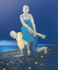 Twilight in a Virgin Beach by Daina Mohapatra, Surrealism Painting, Oil & Acrylic on Canvas, Blue color