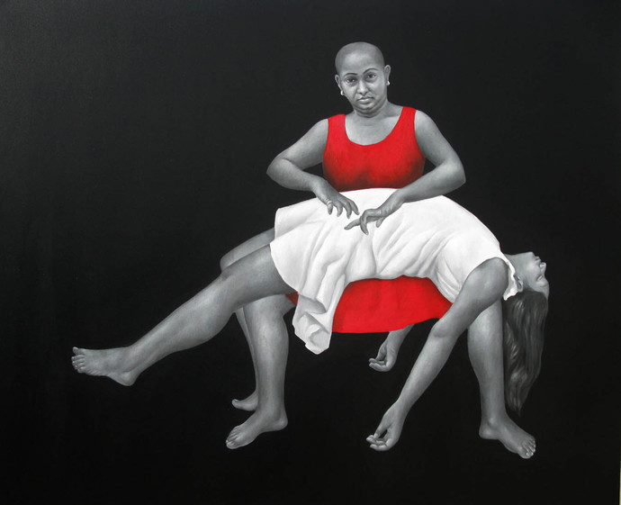 Conundrum of the Self-Impelled by Daina Mohapatra, Impressionism Painting, Oil on Canvas, Gray color