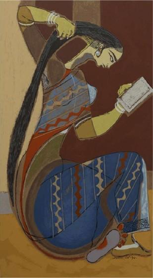 Shrungar by Shanti Dave, Illustration Serigraph, Serigraph on Paper, Brown color